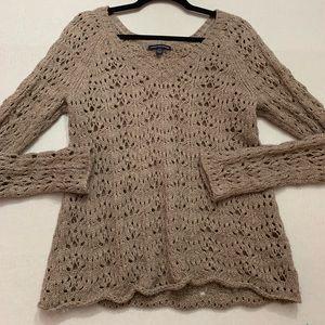 American Eagle Oatmeal Open Knit Sweater, Size M